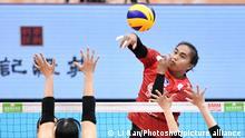 (190501) -- TIANJIN, May 1, 2019 () -- Aprilia Santini Manganang (top) spikes during the group B match between Supreme Chonburi of Thailand and Hisamitsu Seiyaku Springs of Japan at the 2019 Asian Women's Club Volleyball Championship in north China's Tianjin Municipality, on May 1, 2019. Supreme Chonburi won 3-1. (/Li Ran)