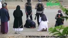 Myanmar | Nonne kniet vor Polizei