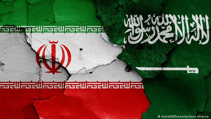 Flagge Iran und Saudi-Arabien als Wandgemälde