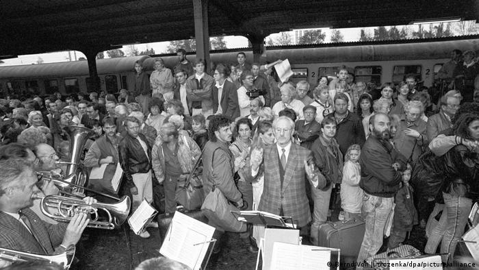 East German refugees arriving in West German Helmstedt via Warsaw
