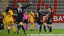 MUNICH, GERMANY - MARCH 10: Lina Magull of Bayern Muenchen celebrates with team mate Ivana Rudelic after scoring her team's first goal with a penalty kick during the Women's UEFA Champions League Round of 16 match between Bayern München and BIIK Kazygurt at FCB Campus on March 10, 2021 in Munich, Germany. (Photo by Sebastian Widmann/Getty Images)