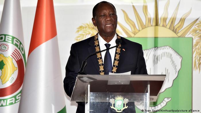 Incumbent Ivory Coast President Alassane Ouattara delivers a speech