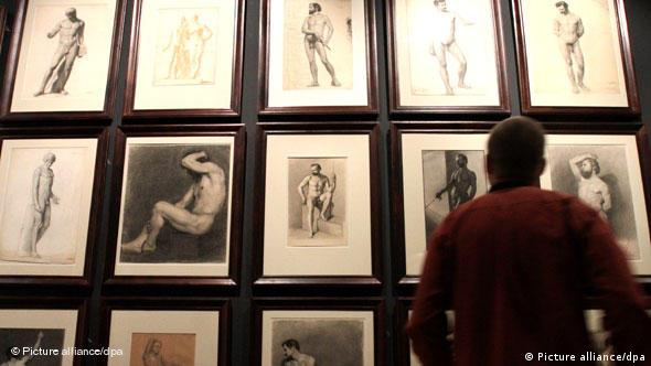 Drawings of nude men, part of the Ars Homoerotica exhibition at the National Museum in Warsaw