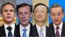 Kombo-Bild Tony Blinken, Jake Sullivan, Yang Jiechi, Wang Yi