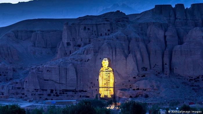 A projection of the Bamiyan Buddha in Bamiyan province, central Afghanistan