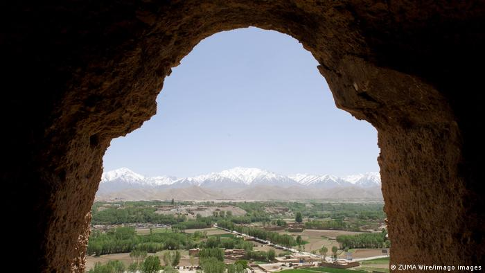 A view overlooking Bamiyan from the upper interior of one the ancient Buddha statues on the outskirts of Bamiyan