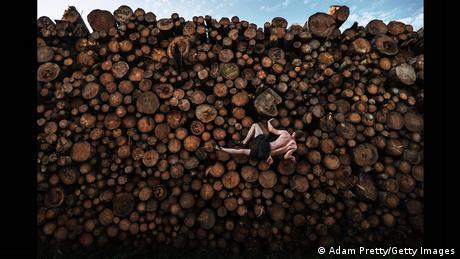 Ορειβάτης προπονείται σε κορμούς δέντρων