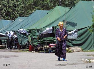 Ehnic Uzbek refugee near the eastern Uzbek city of Andijon