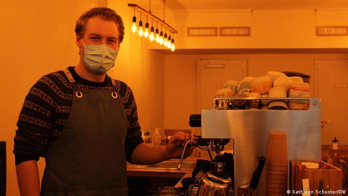 Vincens von Bibra stands at the espresso machine