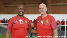 Football - 2021 CAF General Assembly - Preview - Rabat - Morocco. Patrice Motsepe and FIFA President Gianni Infantino take part in a friendly match during the football festivities ahead of the 2021 CAF General Assembly in Rabat, Morocco on 11 March 2021 ©Sports Inc URN:58558272