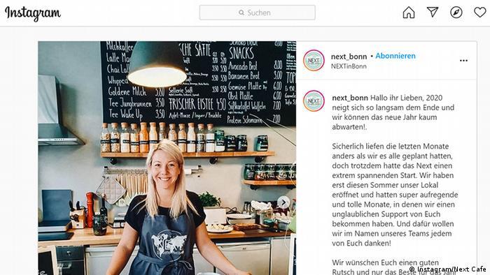 Rebecca Behr poses in her vegan kitchen in downtown Bonn