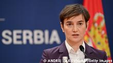 Serbian Prime Minister Ana Brnabic attends a joint press conference with her Czech counterpart after their meeting in Belgrade on February 10, 2021. (Photo by Andrej ISAKOVIC / AFP) (Photo by ANDREJ ISAKOVIC/AFP via Getty Images)
