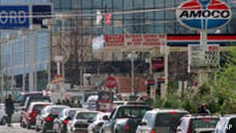Motorists wait in line near an Amoco station in Virginia