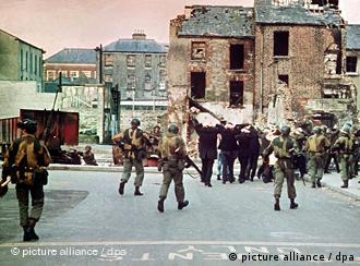 People in the streets during clashes with soldiers in 1972