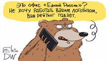 Karikatur von Sergey Elkin | Russland Umfragewerte der Regierungspartei