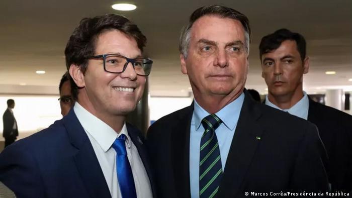 O ex-ator Mário Frias e o presidente Jair Bolsonaro
