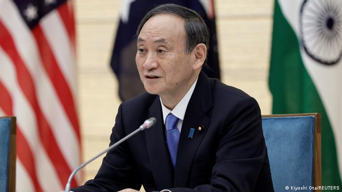 Japan's Prime Minister, speaks during the virtual Quadrilateral Security Dialogue (Quad) meeting at his official residence in Tokyo, Japan,