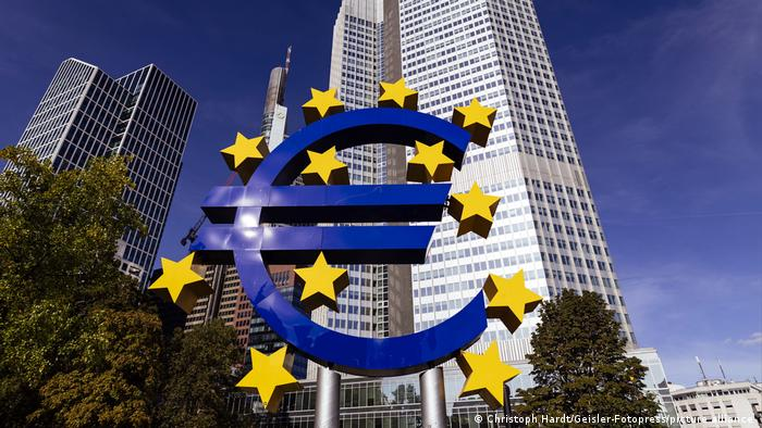 A sculpture of the euro currency symbol outside the European Central Bank in Frankfurt