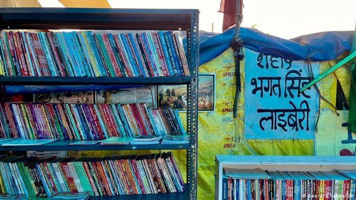 The Shaheed Bhagat Singh library is seen at Delhi's Tikri border