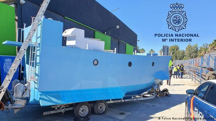 A photo from the Spanish police of the blue homemade submarine