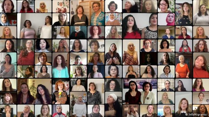 صورة للنساء المشاركات في الأغنية التي نشرها الكورال بمناسبة اليوم العالمي للمرأة