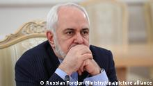 6446236 26.01.2021 In this handout photo released by Russian Foreign Ministry, Iranian Foreign Minister Javad Zarif attends a meeting with Russian Foreign Minister Sergei Lavrov, in Moscow, Russia. Editorial use only, no archive, no commercial use. Russian Foreign Ministry