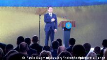 KYIV, UKRAINE - MARCH 13, 2021 - President of Ukraine Volodymyr Zelenskyy attends the 11th convention of the Servant of the People Party at the Parkovy Kyiv International Convention Center, Kyiv, capital of Ukraine., Credit:Pavlo_Bagmut / Avalon