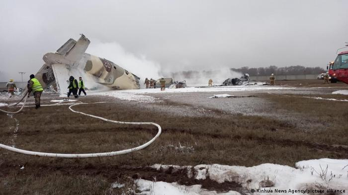 На месте крушения самолета в Алма-Ате