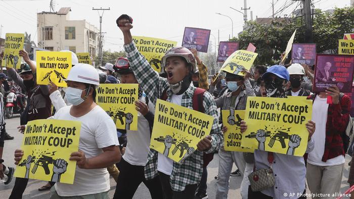 Акція протесту проти військової хунти у М'янмі