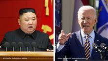 Kombibild Kim Jong Un und Joe Biden