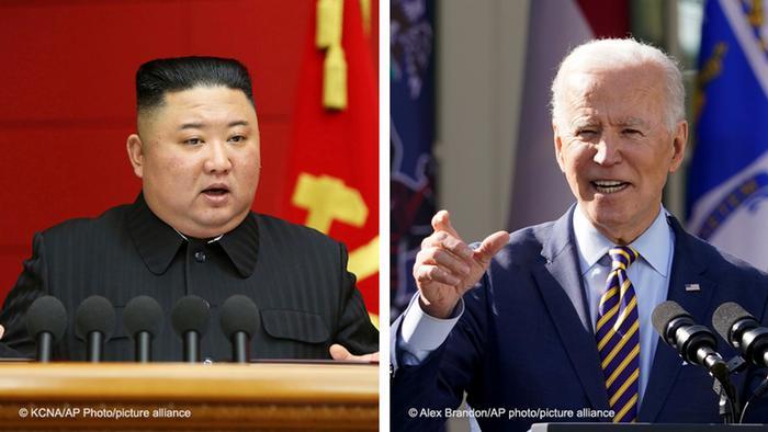 Nordkoreas starker Mann Kim Jong Un und US-Präsident Joe Biden -