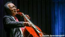 May 9, 2019*** French-born Chinese-American cellist Yo-Yo Ma plays during a concert at the Metropolitan Theater in Medellin, Antioquia department, Colombia on May 9, 2019. (Photo by JOAQUIN SARMIENTO / AFP)