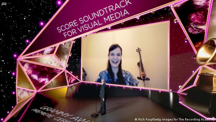 Hildur Guðnadóttir appears onscreen as she accepts her Grammy remotely