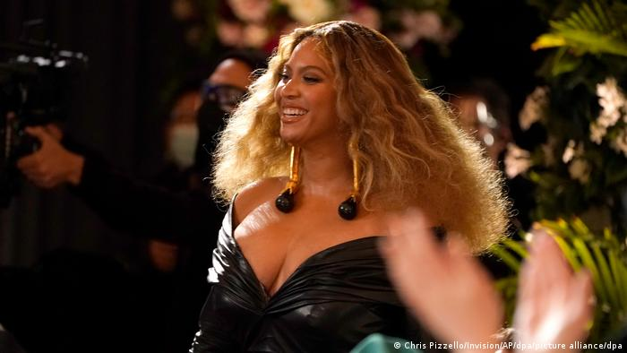 Beyonce smiles as she attends the 2021 Grammy Awards ceremony