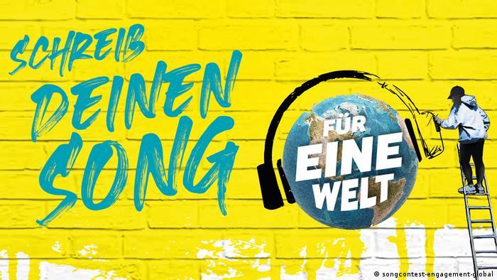 Logotipo do concurso Dein Song für eine Welt em fundo amarelo com letras azuis