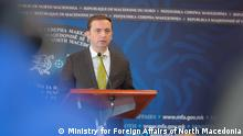 Der mazedonische Außenminister Bujar Osmani auf der Pressekonferenz in Skopje, Nord-Mazedonien am 15.03.2021 Copyright: Ministry for Foreign Affairs of North Macedonia