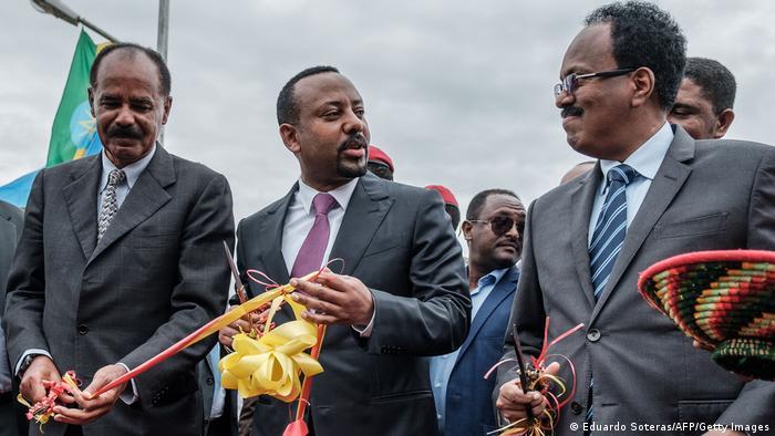Ethiopia's Prime Minister Abiy Ahmed, Eritrea's President Isaias Afwerki and Somalia's President Mohamed Abdullahi Mohamed