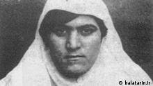 Zainab Pasha. Die iranische Kämpferin für Demokratie und Frauenrechte aus der Stadt Täbris war eine Pionierin des sogenannten Tabakprotestes. Sie war außerdem während der Hungersnot in Täbris maßgeblich an den Protesten beteiligt, bei denen die Lagerhäuser gestürmt und geöffnet wurden. Lizenz: balatarin.ir (rechtefrei)