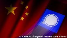 China Das App Icon von Signal auf Chinesischer Flagge