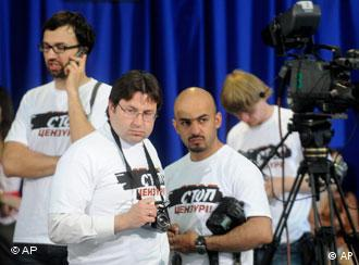 """Journalists wearing t-shirts reading """"stop censorship"""" in Kiev earlier this year."""