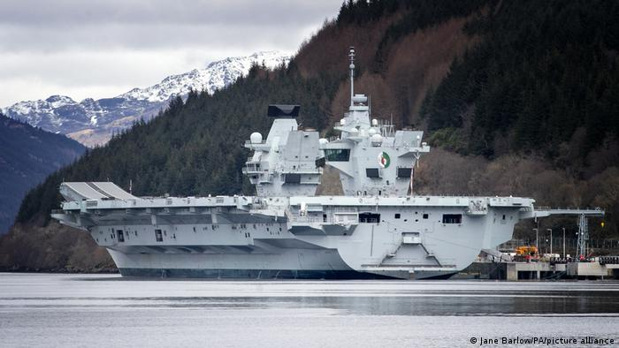 British aircraft carrier HMS Queen Elizabeth - here off the west coast of Scotland