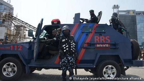 Police stand on guard at the Lekki tollgate during a demonstration against police brutality on February 13, 2021
