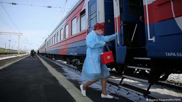 Российский поезд, оборудованный для вакцинации от ковида