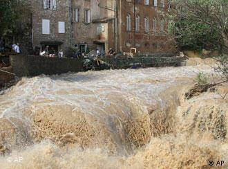 The river Artuby floods the streets in Draguignan, southern France