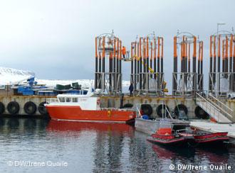 The giant test-tubes being used to measure how organisms in the water are reacting to increased acidification