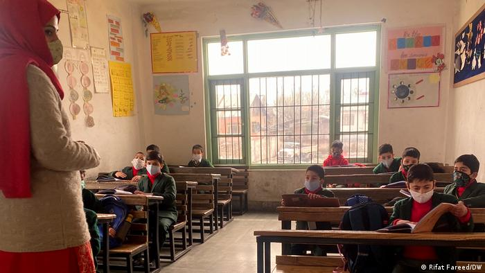 Students in Indian-administered Kashmir attend school for the first time in two years after two consecutive lockdowns