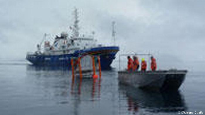 Wissenschaftler im kleinen Boot nehmen Mesokosmos, der vom Greenpeace-Schiff Esperanza transportiert wurde, in Empfang. (Quelle: DW/Irene Quaile)