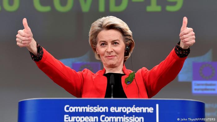 Ursula von der Leyen giving the thumbs-up sign