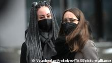 15.03.2020 MOSCOW, RUSSIA - MARCH 15, 2020: Fans outside VTB-Arena ahead of a concert by the German-Swedish industrial metal duo Lindemann. The Lindemann duo created by Rammstein vocalist Till Lindemann and Swedish musician Peter Tagtgren, is to give a day and a night concert at the stadium following Moscow Mayor Sergei Sobyanin's decree banning public events with over 5 thousand participants in Moscow due to the coronavirus threat till April 10, 2020. Vyacheslav Prokofyev/TASS