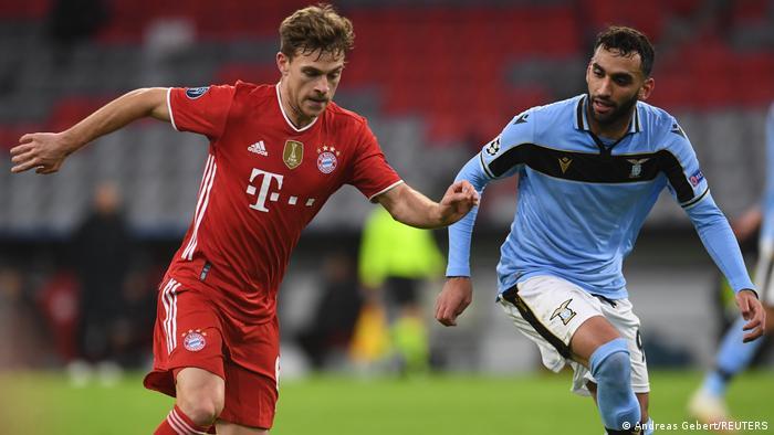 Joshua Kimmich in action for Bayern Munich against Lazio.